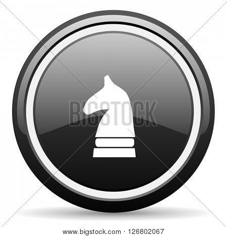 chess horse black circle glossy web icon