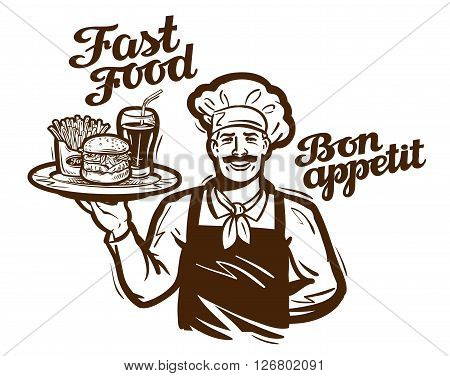 fast food vector logo. restaurant, cafe or diner icon