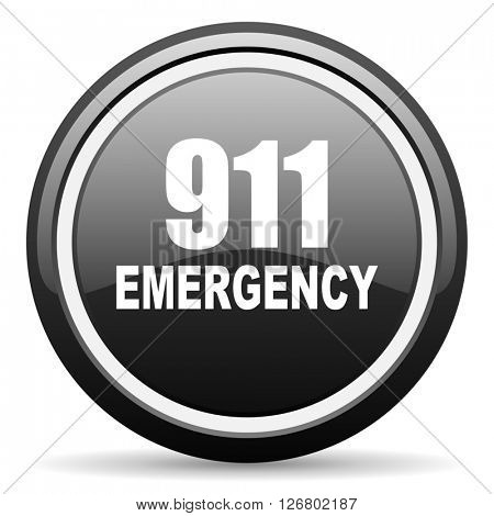 number emergency 911 black circle glossy web icon