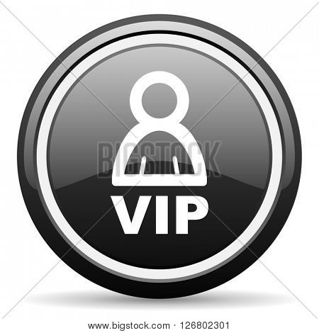 vip black circle glossy web icon