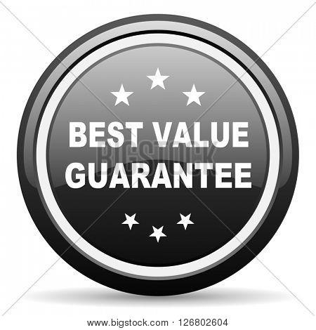 best value guarantee black circle glossy web icon