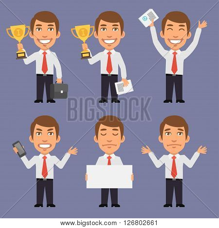 Vector Illustration, Businessman Holds Suitcase, Holds Cup, Holds Phone, Holds White Paper, Furious, Upset, Format EPS 8