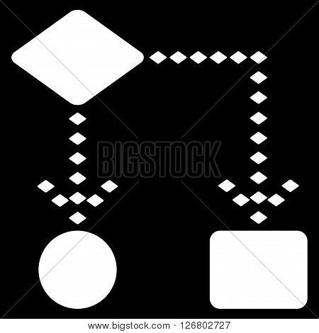 Algorithm Scheme vector toolbar icon. Style is flat icon symbol, white color, black background, rhombus dots.