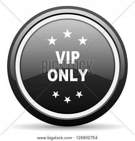 vip only black circle glossy web icon