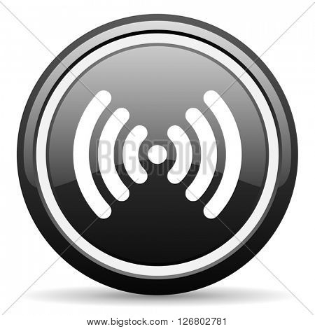 wifi black circle glossy web icon
