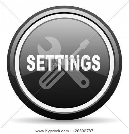 settings black circle glossy web icon