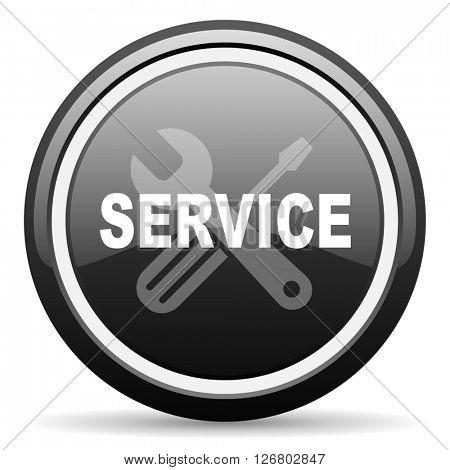 service black circle glossy web icon