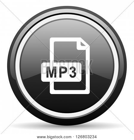 mp3 file black circle glossy web icon
