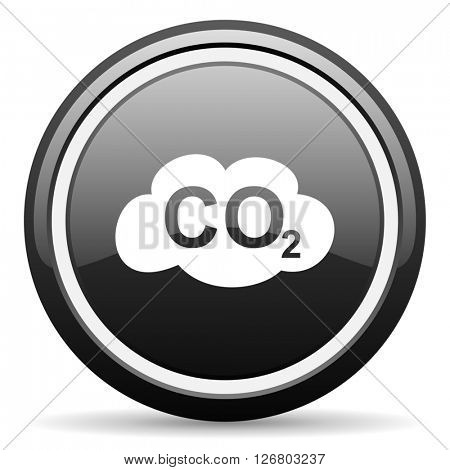 carbon dioxide black circle glossy web icon