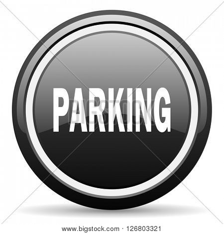 parking black circle glossy web icon