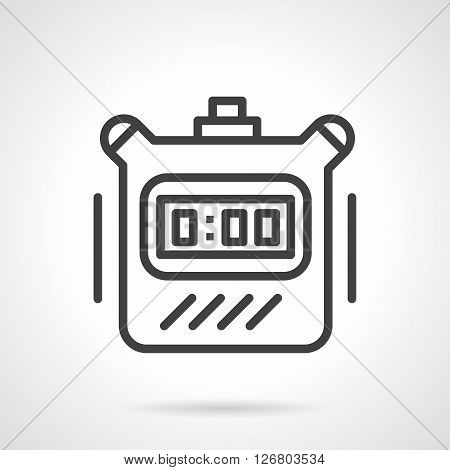 Sport time symbol. Time countdown. Digital timer device with button. Simple black line vector icon. Single element for web design, mobile app.
