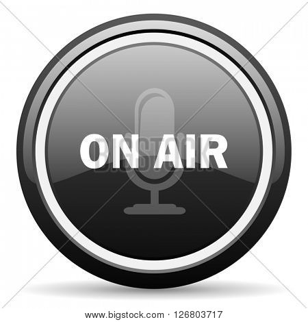on air black circle glossy web icon