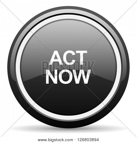 act now black circle glossy web icon