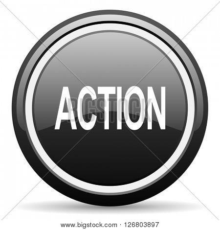 action black circle glossy web icon