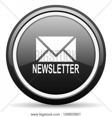 newsletter black circle glossy web icon