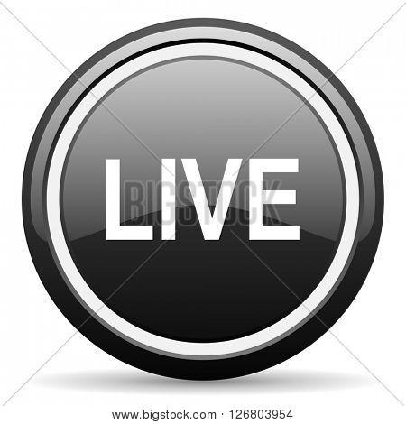 live black circle glossy web icon