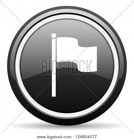 flag black circle glossy web icon