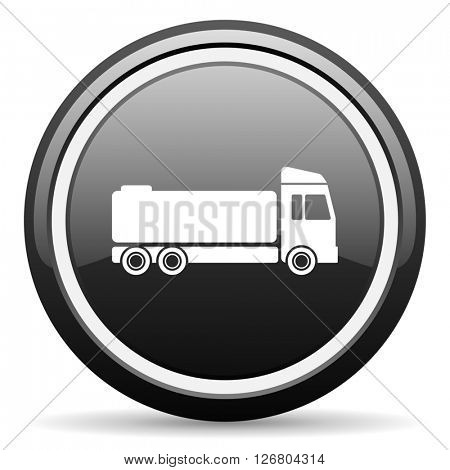truck black circle glossy web icon