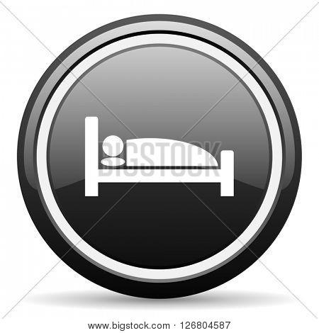 hotel black circle glossy web icon