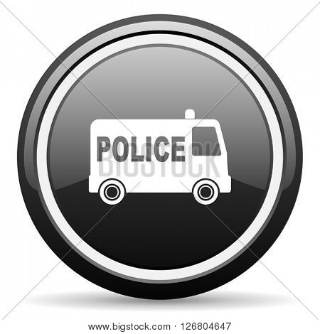 police black circle glossy web icon