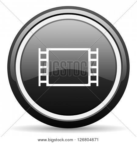 movie black circle glossy web icon