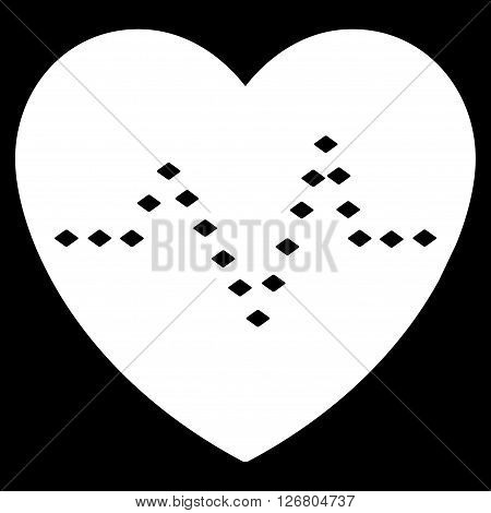 Dotted Heart Pulse vector toolbar icon. Style is flat icon symbol, white color, black background, rhombus dots.