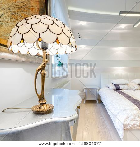 Big luxury bedroom with cristal small lamp