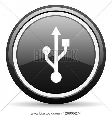 usb black circle glossy web icon
