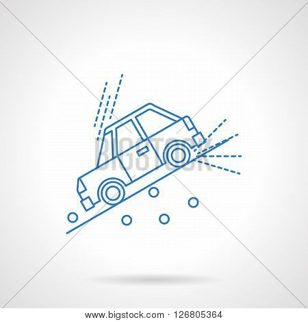 Car moving down the slope with stones. Warning of a dangerous road. Car insurance concept. Automobile disasters. Flat blue line style vector icon. Single design element for website, business.