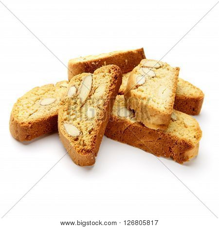 Italian cantuccini cookie with almond filling. Studio shot, isolated on white background.