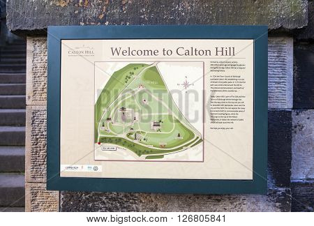 EDINBURGH SCOTLAND - MARCH 9TH 2016: An information board at Calton Hill in Edinburgh on 9th March 2016.