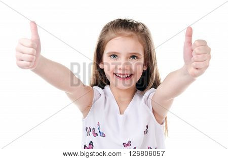 Cute smiling little girl with two fingers up isolated on a white