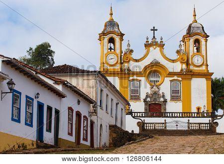 streets of the famous historical town Tiradentes Minas Gerais Brazil