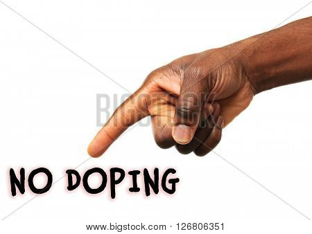 Stop doping concept. Human hand pointing on text isolated on white
