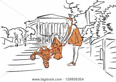 Mother With Buggy In Orange And Temple. Agrigento, Sicily.