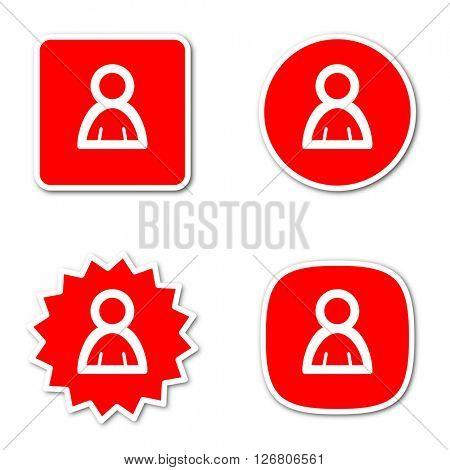 person simple red web internet icon set flat design sticker tag