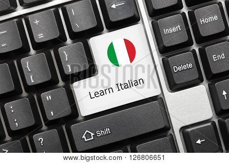 Conceptual Keyboard - Learn Italian (key With National Flag)