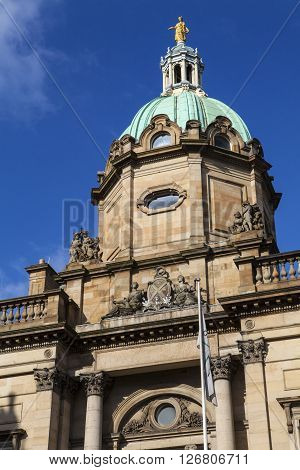 EDINBURGH SCOTLAND - MARCH 10TH 2016: The exterior of the building which houses the main headquarters of the Bank of Scotland in Edinburgh on 10th March 2016.
