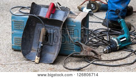 view of welding mask electrodes and electrode holder on electro welding machine