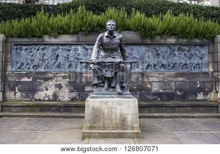 EDINBURGH SCOTLAND - MARCH 10TH 2016: A view of the Scottish American Memorial in West Princes Street Gardens Edinburgh on 10th March 2016.