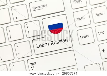 White Conceptual Keyboard - Learn Russian (key With National Flag)