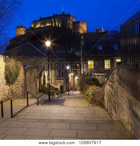 A beautiful dusk view of Edinburgh Castle from the Vennel Scotland.