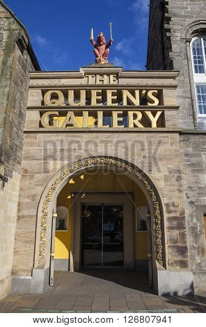 EDINBURGH SCOTLAND - MARCH 10TH 2016: A view of the main entrance to the Queens Gallery in Edinburgh on 10th March 2016.