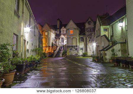 EDINBURGH SCOTLAND - MARCH 11TH 2016: A night-time shot of the beautiful Whitehorse Close in Edinburgh on 11th March 2016.