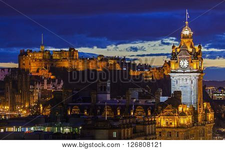 EDINBURGH SCOTLAND - MARCH 9TH 2016: A beautiful view from Calton Hill in Edinburgh taking in the sights of Edinburgh Castle and the Balmoral Hotel on 9th March 2016.
