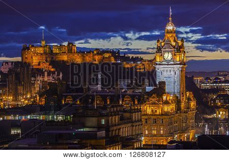 A beautiful view from Calton Hill in Edinburgh taking in the sights of Edinburgh Castle and the Balmoral Hotel.