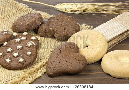 Cookies and spike on rustic wooden background