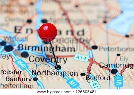 Northampton pinned on a map of UK