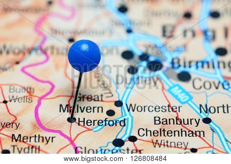 Hereford pinned on a map of UK