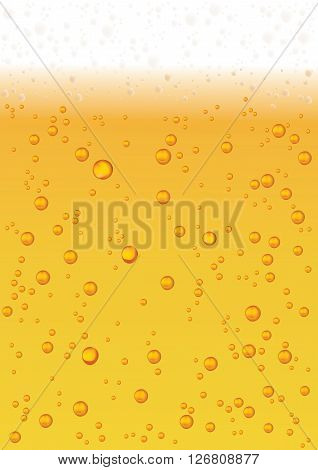 Vector Water or Beer Drops On Yellow Background. Esp 10 Template